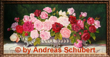 Roses in silver bowl Painted freely according to E. Krüger.