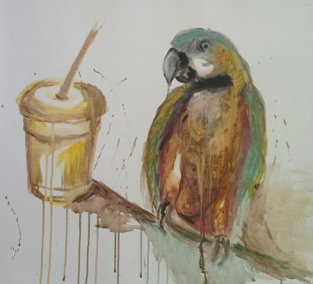Parrot with lemonade